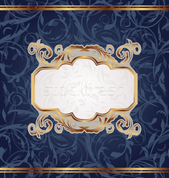 Stock fotó: Arany · retro · embléma · végtelenített · virágmintás · textúra