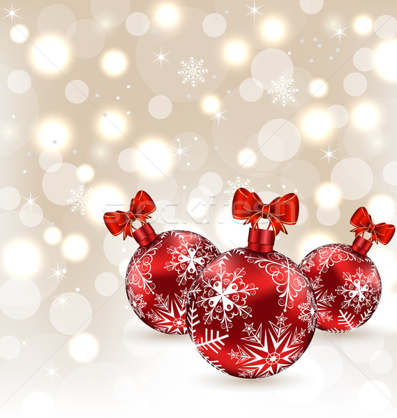 Glowing holiday background with set Christmas balls Stock photo © smeagorl
