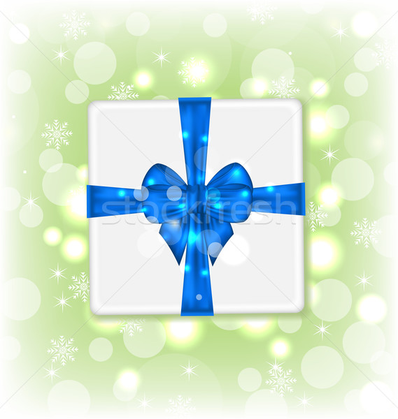 Gift box with blue bow for your party Stock photo © smeagorl