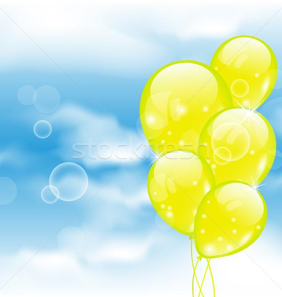 Voador amarelo balões blue sky ilustração aniversário Foto stock © smeagorl