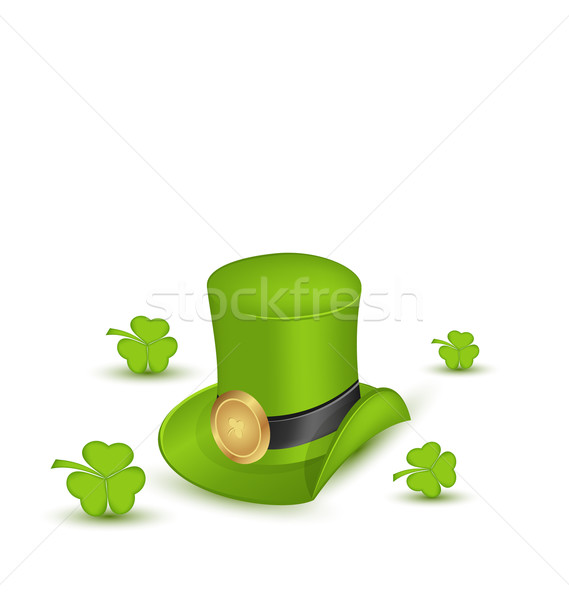 Green hat with buckle with clovers in saint Patrick Day - isolat Stock photo © smeagorl