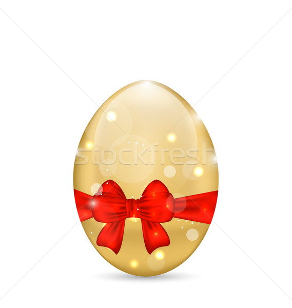 Easter paschal shine egg with red bow Stock photo © smeagorl