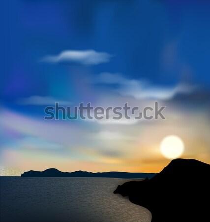 Nature background, sea, mountain, sun, sky during sunrise Stock photo © smeagorl