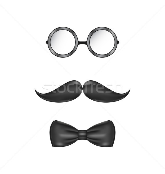 Vintage symbolic of a man face, glasses, mustache and bow-tie, i Stock photo © smeagorl