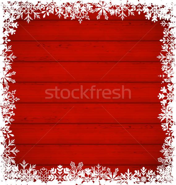 Noël flocons de neige frontière bois illustration bois Photo stock © smeagorl