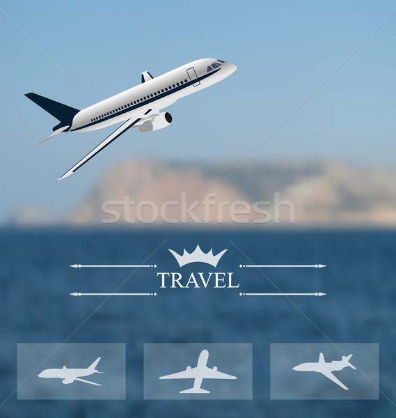 Terv jegyek világszerte utazás mobil interfész Stock fotó © smeagorl