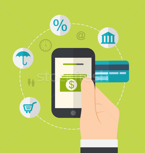 Online betaling iconen illustratie Stockfoto © smeagorl