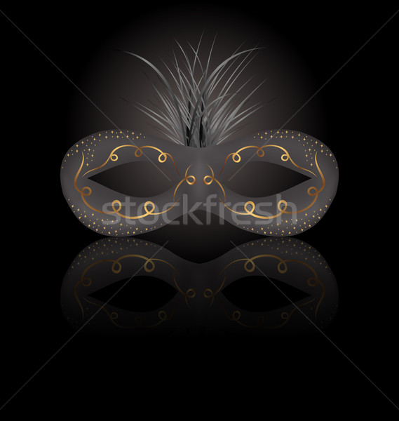 Theater or Carnival mask with reflection on black background Stock photo © smeagorl