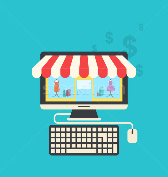 Concept of online shop, flat icons of computer, keyboard and mou Stock photo © smeagorl