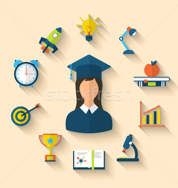 Stock photo: Flat icons of graduation and objects for high school and college