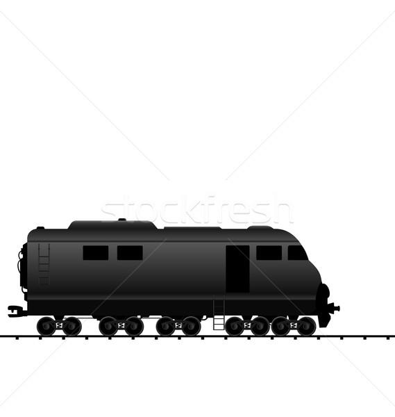 Stock photo: Illustration powered locomotive railroad train, black transporta