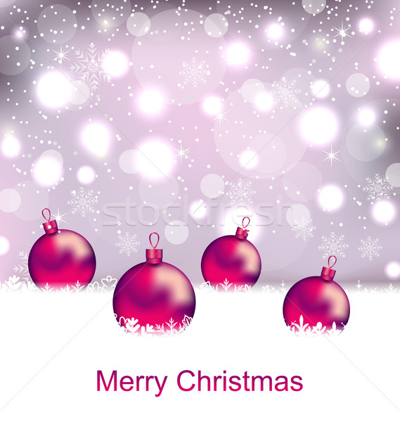 Shimmering Card with Balls For Merry Christmas  Stock photo © smeagorl