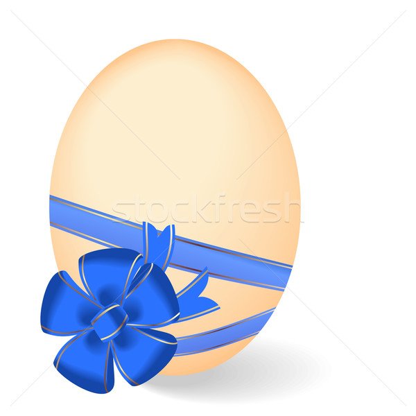 Realistic illustration by Easter egg with blue bow Stock photo © smeagorl