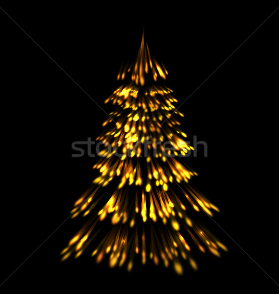 Stock photo: Golden fir tree christmas  trace fireworks  make shape pine