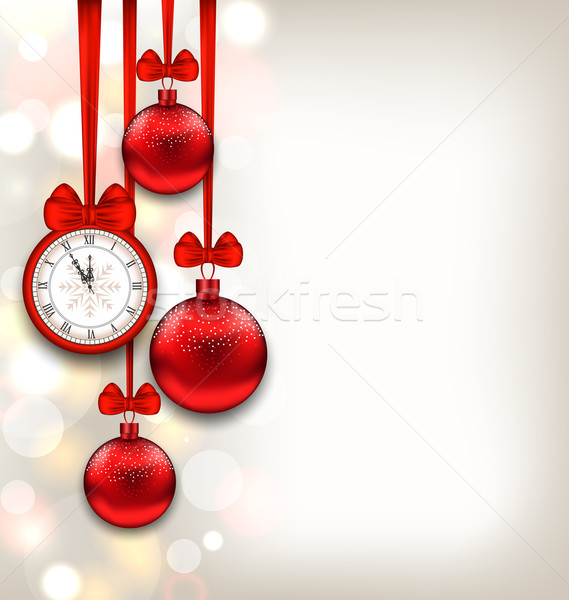 New Year Shimmering Background with Clock and Glass Balls Stock photo © smeagorl