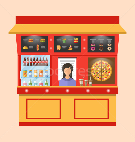 Showcase Shop of Fast Food with Seller Stock photo © smeagorl
