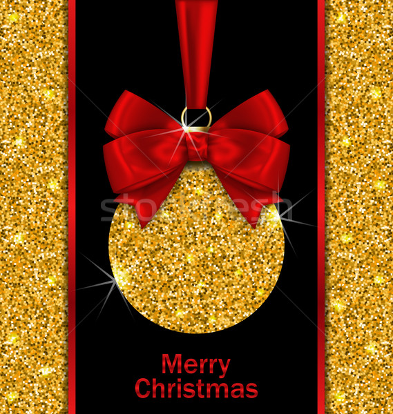 Glitter Card with Christmas Ball  Stock photo © smeagorl