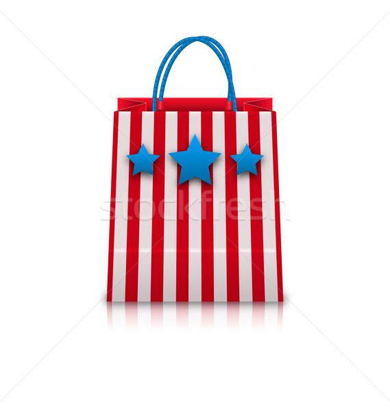 Torbę na zakupy USA patriotyczny kolory wakacje ilustracja Zdjęcia stock © smeagorl
