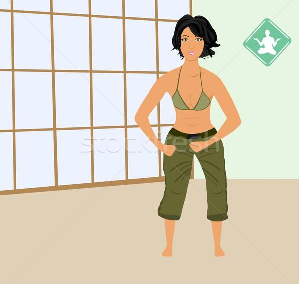 girl exercises in gym Stock photo © smeagorl