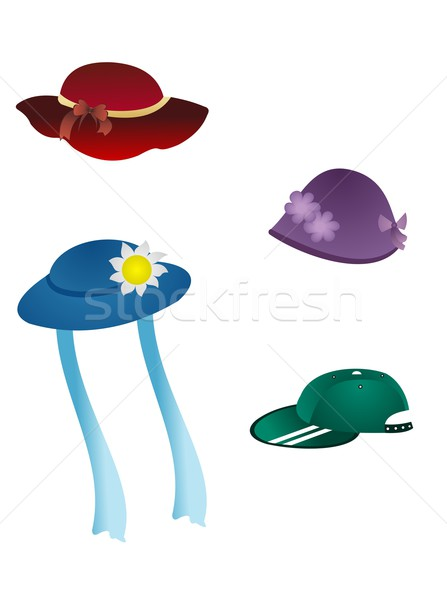 set of children headwear is isolated on white background Stock photo © smeagorl