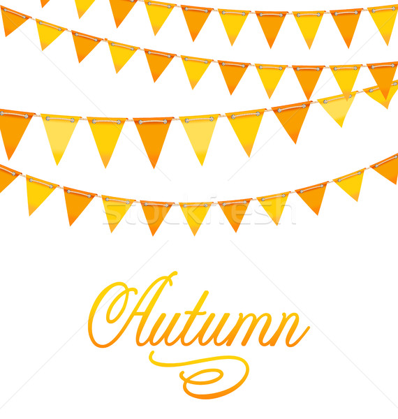 Autumnal Decoration with Orange and Yellow Bunting Flags Stock photo © smeagorl