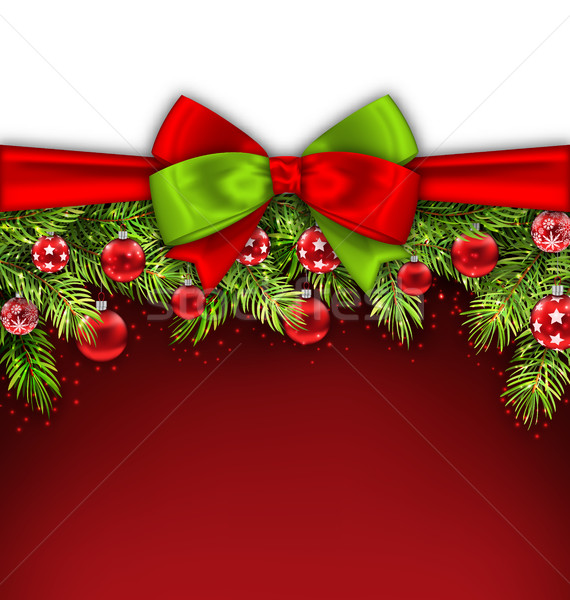 Christmas Banner with Bow Ribbon, Fir Twigs Stock photo © smeagorl