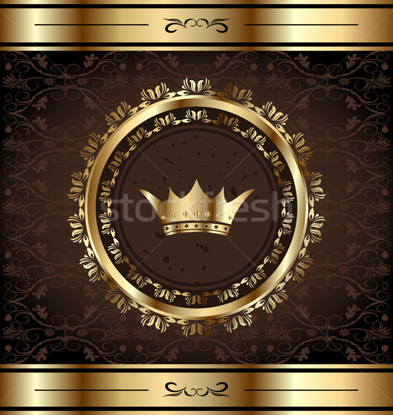 Royal background with golden ornate frame and heraldic crown Stock photo © smeagorl