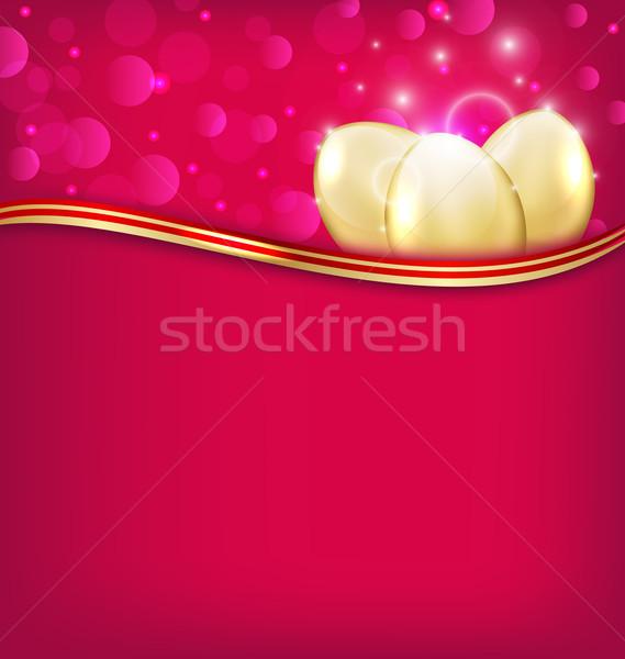 Пасху приглашения яйца иллюстрация яйцо Сток-фото © smeagorl