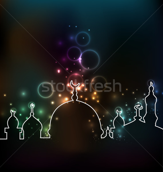 Cute glowing background with mosque Stock photo © smeagorl