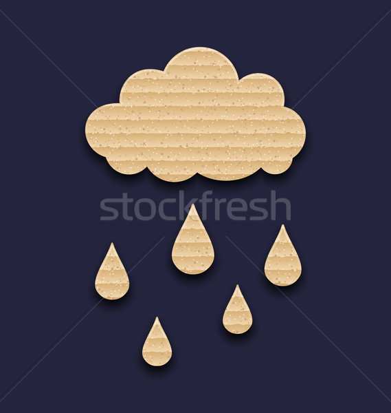 Carton paper cloud with rain drops Stock photo © smeagorl