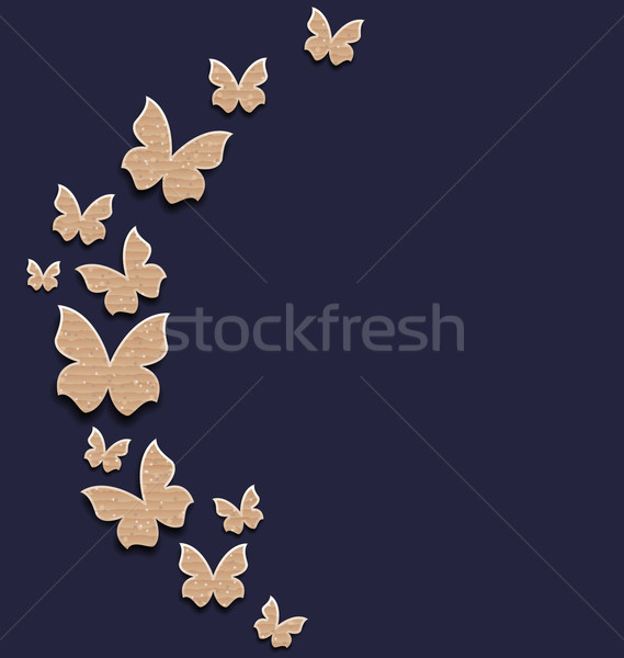 Holiday card with carton paper butterflies Stock photo © smeagorl