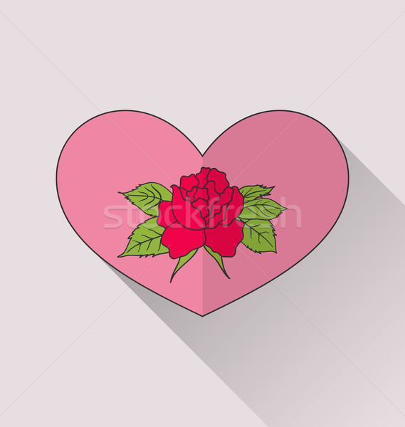 Celebration romantic heart with flower rose for Valentine Day Stock photo © smeagorl