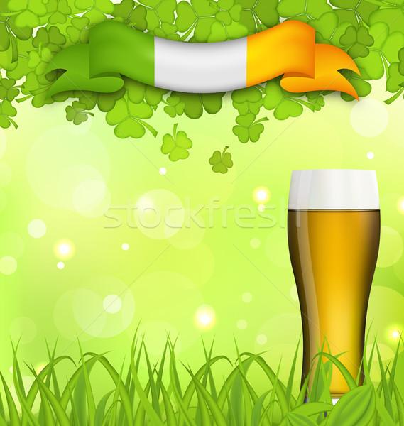 Natureza vidro cerveja grama ilustração Foto stock © smeagorl
