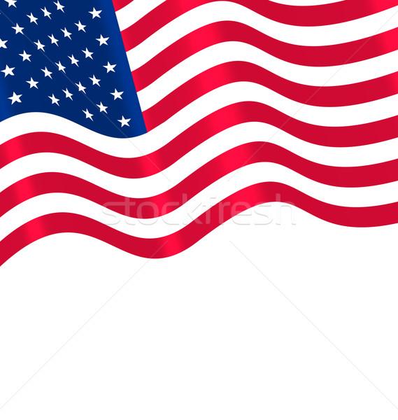 Flags USA Waving Wind and Ribbon Stock photo © smeagorl