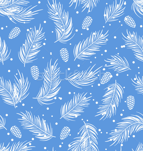 Seamless Pattern with Fir Branches and Cones Stock photo © smeagorl