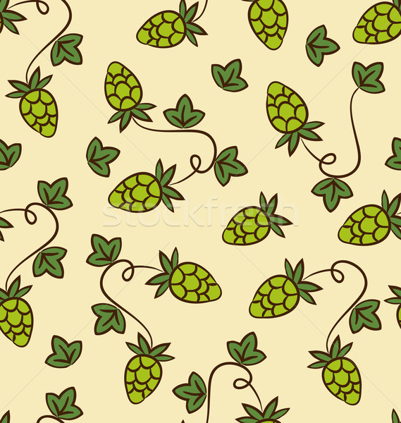 Seamless Pattern Hops Plans for Beer Stock photo © smeagorl
