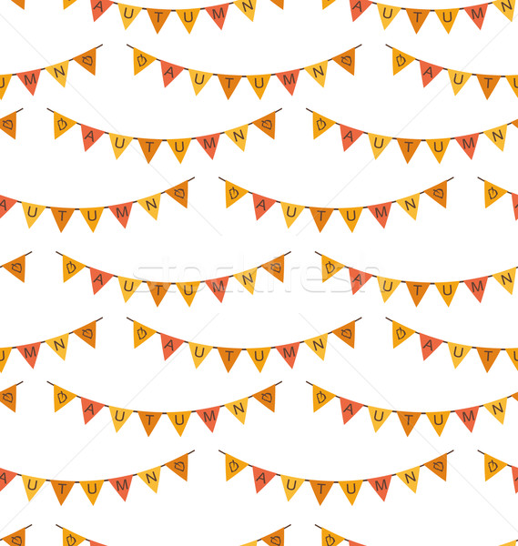 Seamless Pattern with Autumn Bright Buntings Stock photo © smeagorl