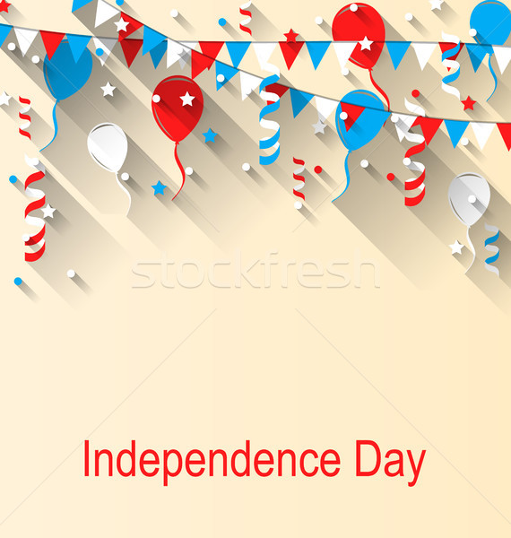 American Patriotic Banner for Independence Day with Balloons, Streamer, Stars and Pennants Stock photo © smeagorl
