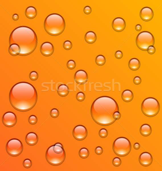Clean water droplets on orange surface Stock photo © smeagorl