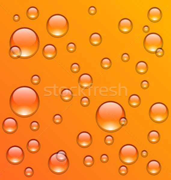 清浄水 滴 オレンジ 表面 実例 水 ストックフォト © smeagorl