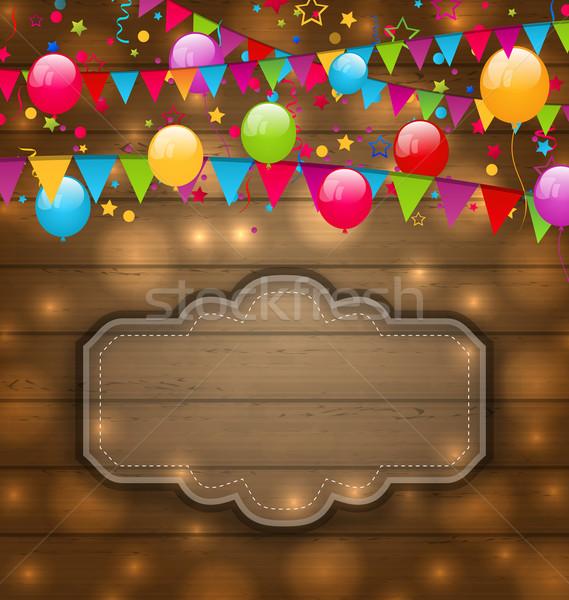 Zdjęcia stock: Kolorowy · balony · wiszący · flagi · tekstury