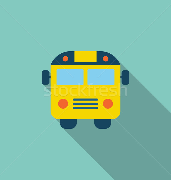 Stock photo: Illustration School Bus Flat Icon with Long Shadow