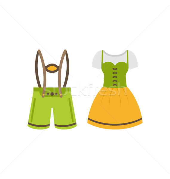 Male and Female National Bavarian Costumes Stock photo © smeagorl
