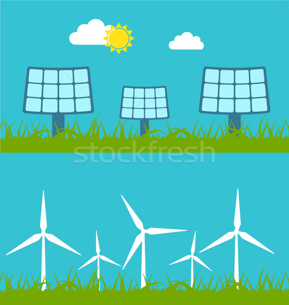 Solar Panels and Wind Generators Stock photo © smeagorl