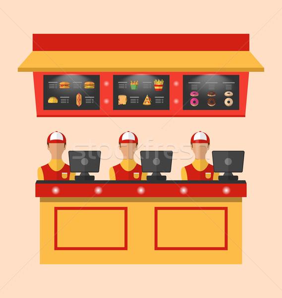 工人 收款台 咖啡館 插圖 快餐 食品 商業照片 © smeagorl