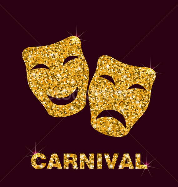 Illustration Golden Glittering Carnival Mask Stock photo © smeagorl