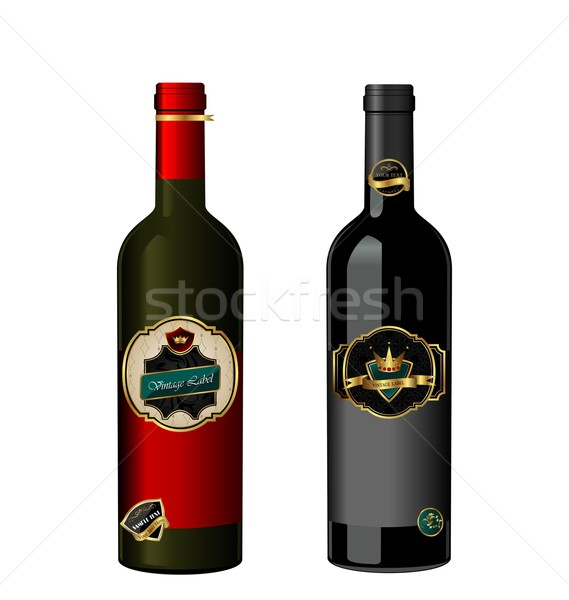 Illustration of set wine bottle with label Stock photo © smeagorl