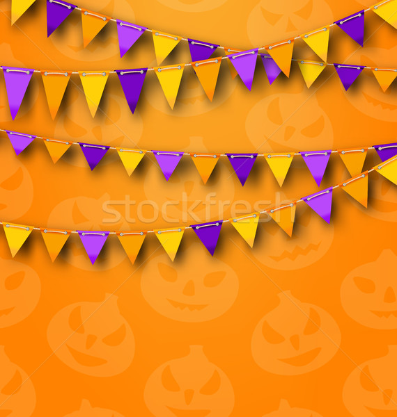 Halloween Party Background with Colored Bunting Pennants Stock photo © smeagorl