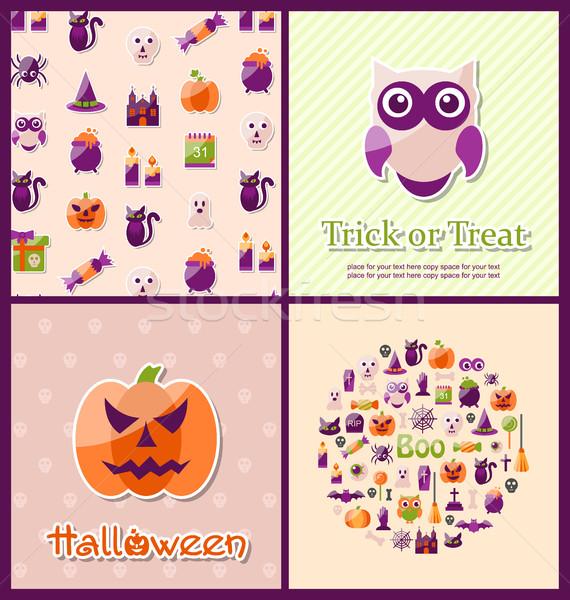 Halloween Postcards. Set Banners Stock photo © smeagorl