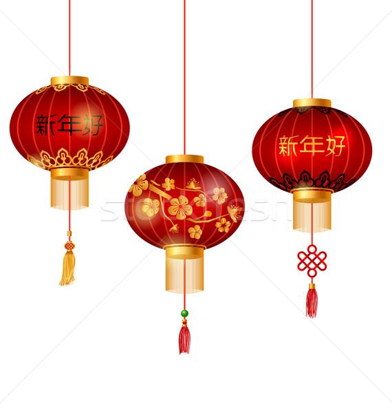Szett piros kínai lámpások körkörös boldog új évet Stock fotó © smeagorl